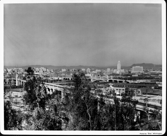 Looking across several bridges toward the Civic Center (including City Hall) in downtown Los Angeles