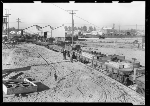 Unloading machinery for Patterson-Ballaugh, Southern California, 1929