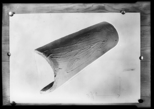 Photograph of photograph of a roof tile, Simons Brick Co., Southern California, 1928