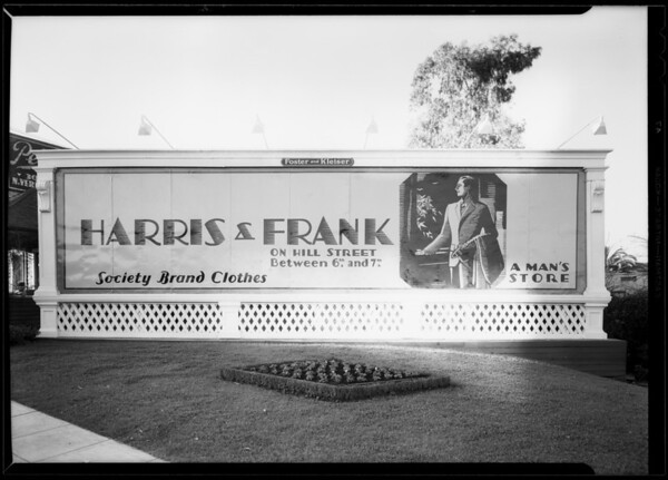 Harris & Frank sign, Southern California, 1930
