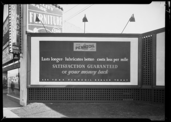 Bulletin board & sign on service station, West 39th Street & South Vermont Avenue, Los Angeles, 1931