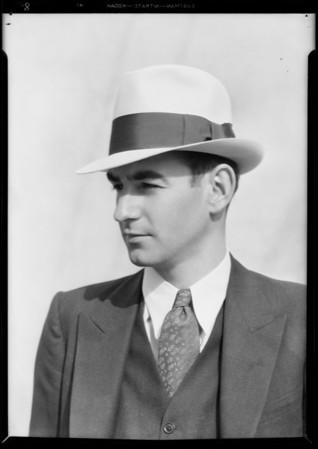 Men's hats - store models, Southern California, 1931