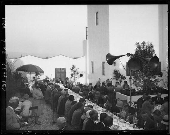 Opera singer and crowd around Lido Isle, Newport Beach, CA, 1928