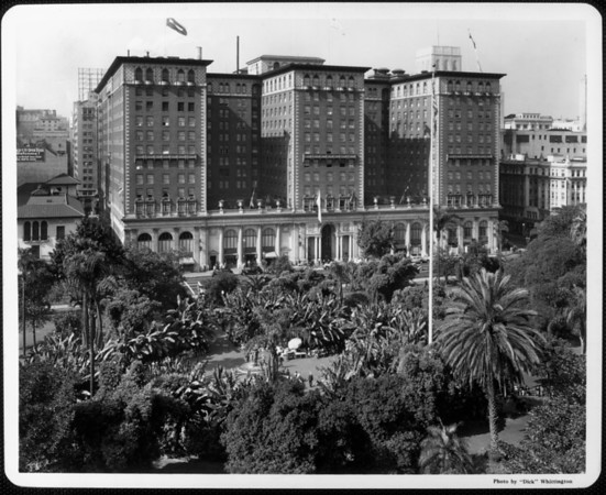 Looking west over the palms and banana trees of Pershing Square to the Biltmore Hotel, which opened in 1923