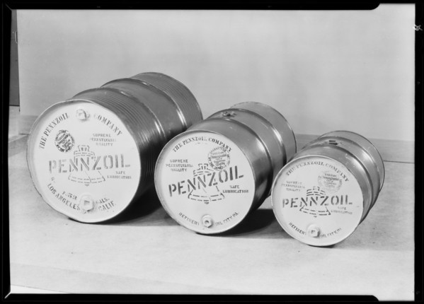 Studio shots, cans, etc., Pennzoil Co., Southern California, 1930