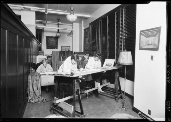 Lamp department - artist studio, Broadway Department Store, Los Angeles, CA, 1925