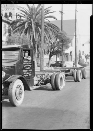 Lumber truck, Southern California, 1929