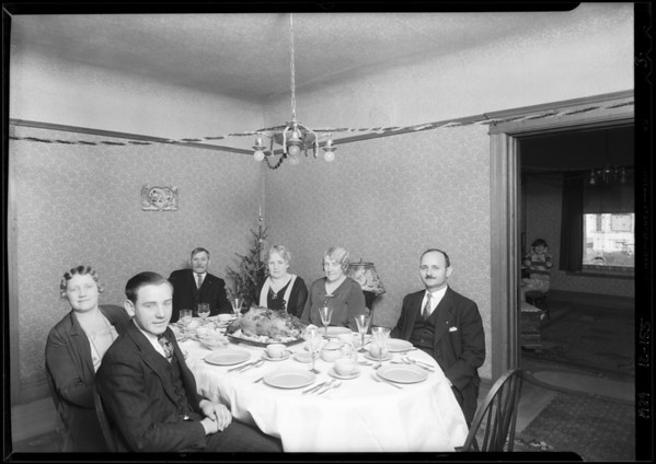 Christmas dinner, Mrs. Hulda Johnson, Southern California, 1929