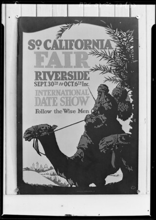 Edward old man, date palms, Riverside Fair pageant, Southern California, 1925