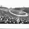 A panoramic view of the inside of the Los Angeles Memorial Coliseum with a capacity crowd