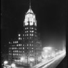 Los Angeles First National Bank, new Hollywood branch building at night with lights lit, Los Angeles, CA, 1928
