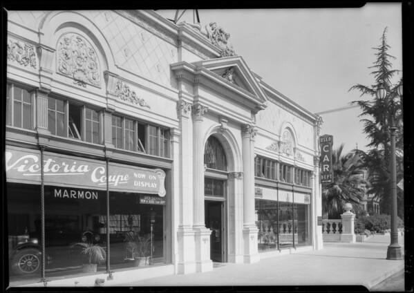 Pelton Motor Company, Marmon cars, exterior of building, Southern California, 1925