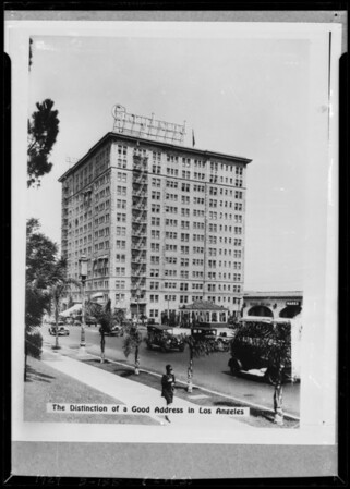 Copy for postcards, Gaylord Hotel, Southern California, 1929