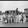 Stage coach & society women on lawn, Los Angeles, CA, 1928