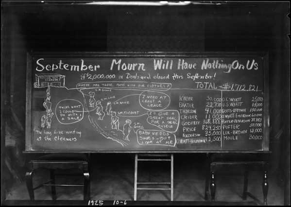 """Blackboard """"September Mourn Will Have Nothing On Us"""", Southern California, 1925"""