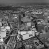 An aerial view looking northeast over downtown Los Angeles