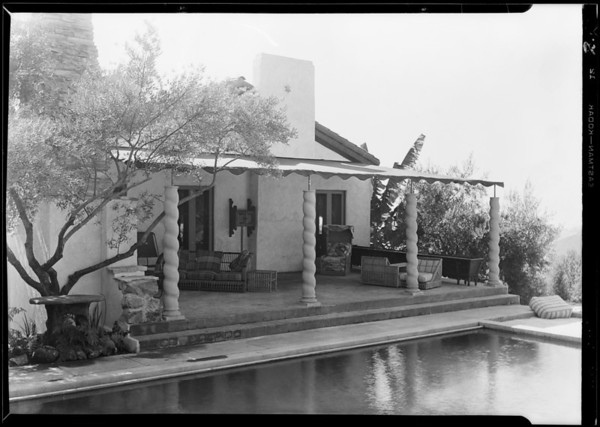 Awning at John Gilbert's home, Southern California, 1929