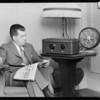 Captain Lyons (Southern Con Aeroplane) & radio at Biltmore Hotel, Southern California, 1928