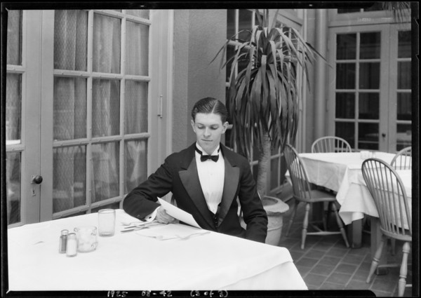 Man in tuxedo in roof garden cafe (Mr. George), Los Angeles, CA, 1925