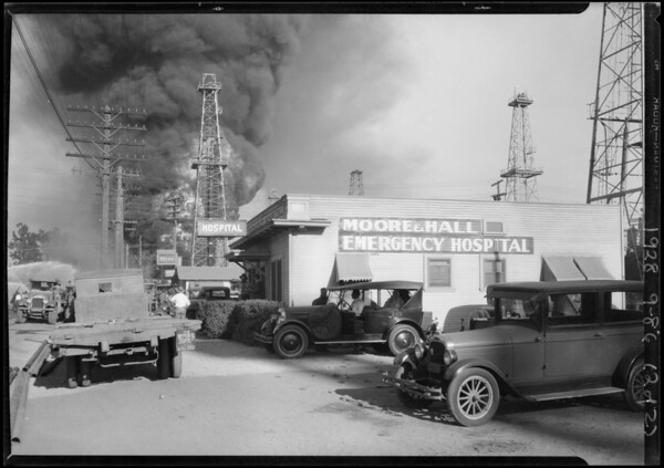 Moore and Hall Hospital and fire at Santa Fe Springs, Southern California, 1928
