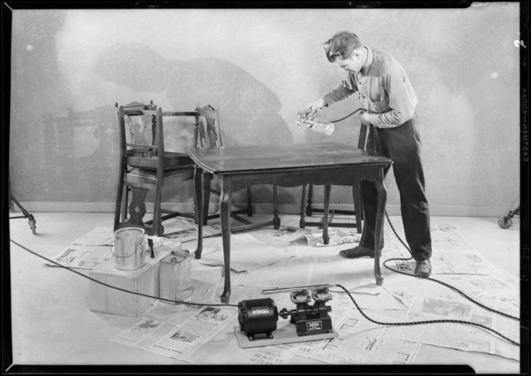 Catalogue shots at studio, Crown Spray Gun, Southern California, 1929
