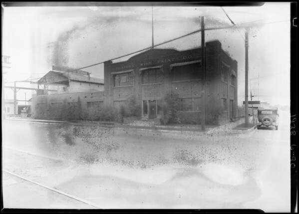 Exterior of plant, Bradley-Wise Paint Co., Southern California, 1928
