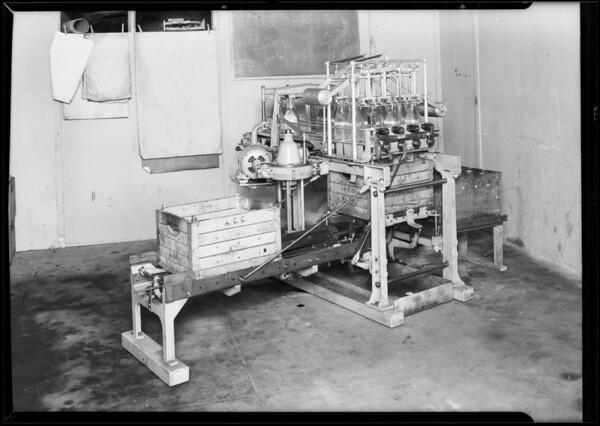 Milk bottle machine, Southern California, 1931