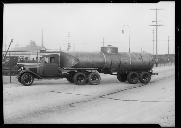 Chevrolet tank truck and trailer, Southern California, 1931