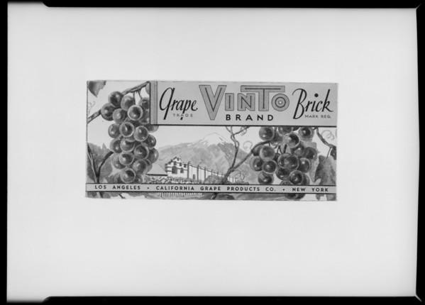 Vinto grape brick carton, Southern California, 1931