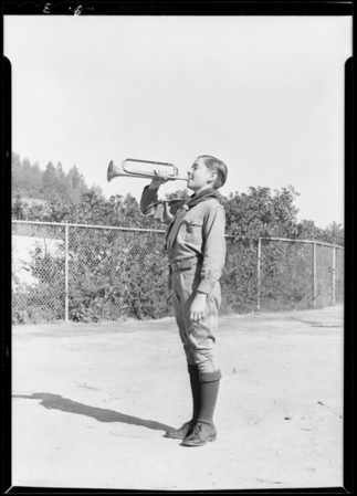 Boy Scouts blowing bugles at Exposition Park, Los Angeles, CA, 1930