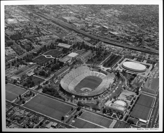 An aerial view of the Coliseum, looking northeast