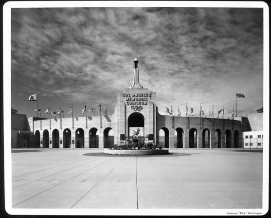 A facade of the entrance of the Los Angeles Memorial Coliseum
