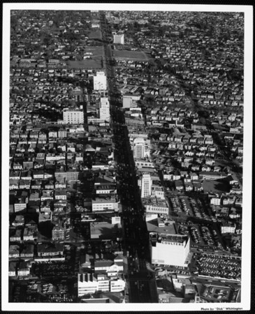 An aerial view looking east along Wilshire Boulevard