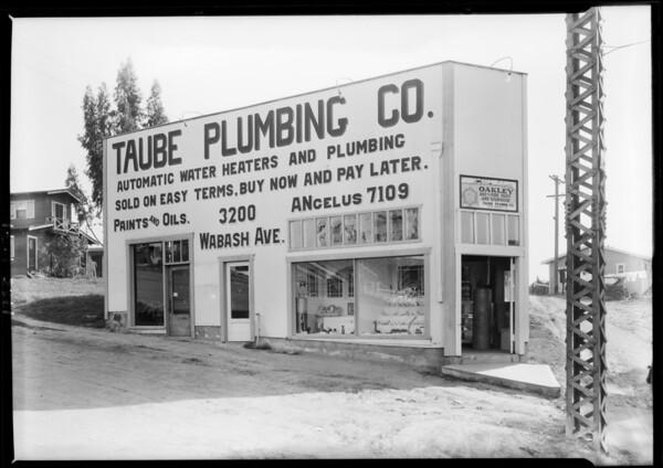 Taube Plumbing shop, 3200 Wabash Avenue, Los Angeles, CA, 1928