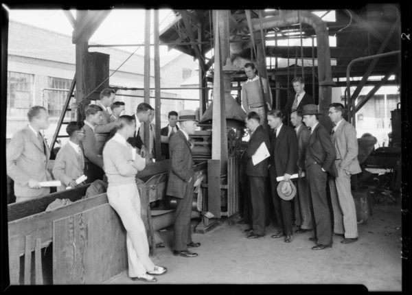 Group students visiting plant, Pioneer Paper Co., Southern California, 1929