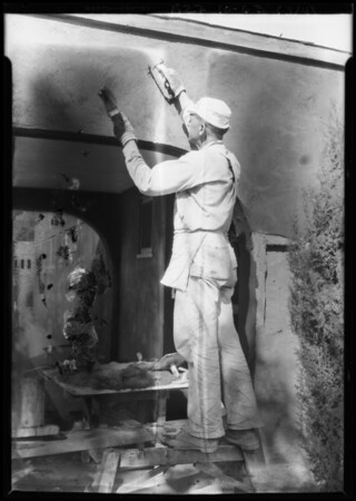 Plaster coat on California home, Southern California, 1927