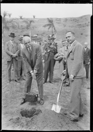 Planting tree by New York banker Otto Rahn, Southern California, 1928
