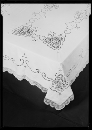 Linen lace tablecloth, Southern California, 1931
