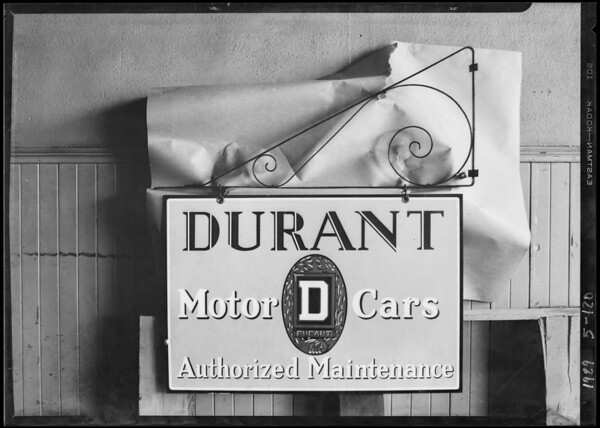 Durant sign delivered to Dausing Printing Co., Southern California, 1929
