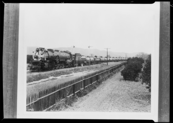 Trains of oil cars, Pennzoil Co., Southern California, 1930