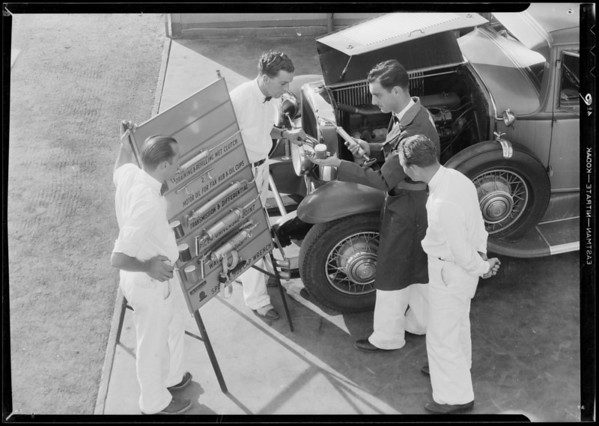 Giving lubrication instructions, Southern California, 1931