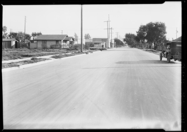 Street scenes on Beach Street where child was struck by auto, Los Angeles, CA, 1928
