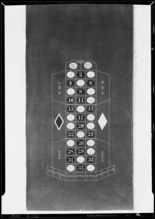 Gambling table oil cloths, Southern California, 1929