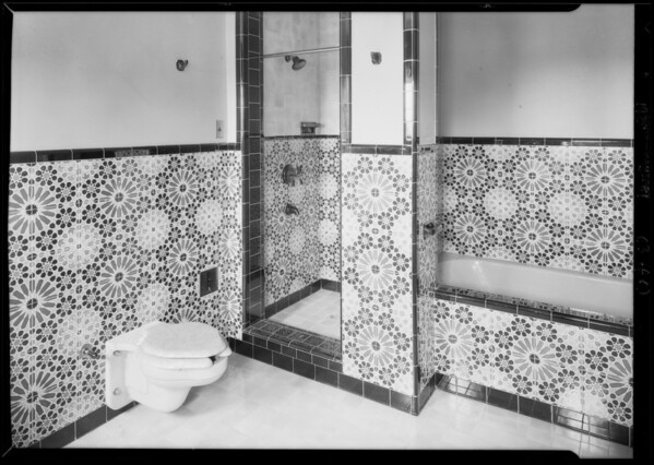 Bathrooms in homes of Mr. Crissman, 1107 & 1109 Peavine Canyon Road, Beverly Hills, CA, 1928