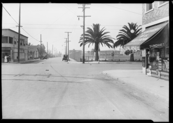 Intersection of South Mott Street and East 4th Street, Los Angeles, CA, 1928