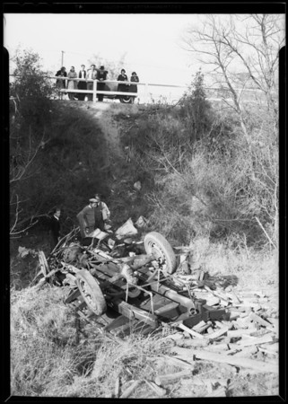 Truck over embankment in La Cañada, La Cañada Flintridge, CA, 1930