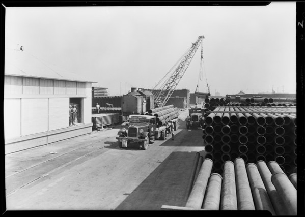 General Petroleum trucks at Republic Supply Co., Los Angeles, CA, 1929