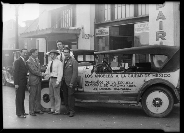 Boys driving to Mexico City, Southern California, 1930
