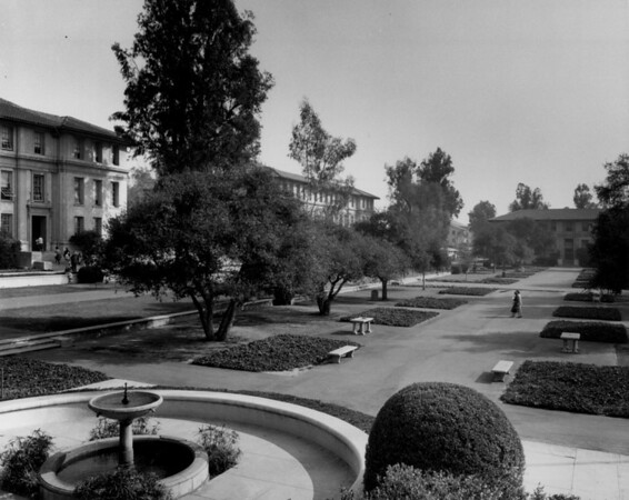 A water fountain foregrounds the landscape of Occidental College