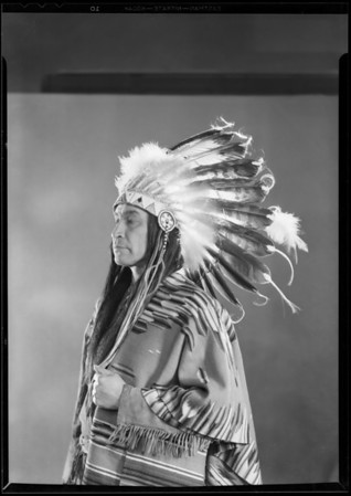 """Indian chief, Chickasaw Indian, """"William Harrison of Mission Play"""", Southern California, 1930"""